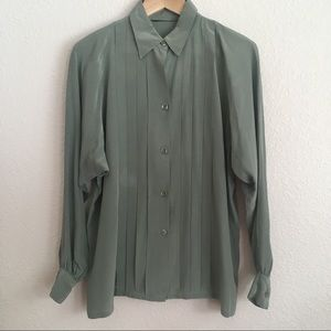 Women's Vintage Green Long Sleeve Button Up Blouse